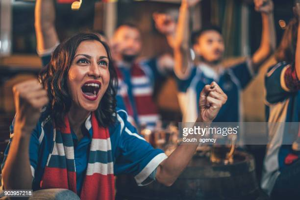 girl big sports fan - fan enthusiast stock photos and pictures