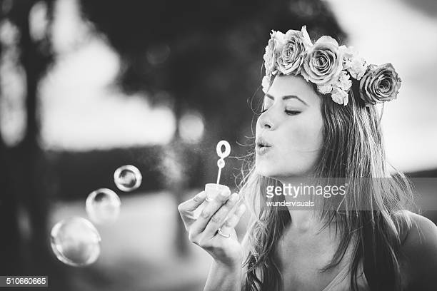 Girl Blowing Bubbles Black and White