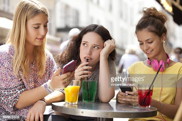 Girl bored with her girlfriends