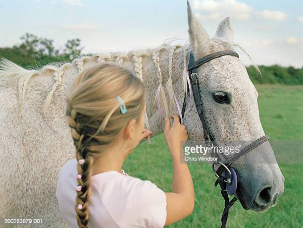 Girl (10-12) braiding horse's mane, rear view