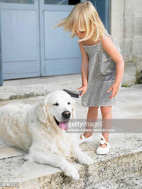 Girl brushing her dog