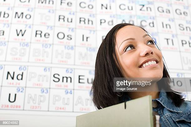 girl by periodic table - periodic table stock photos and pictures