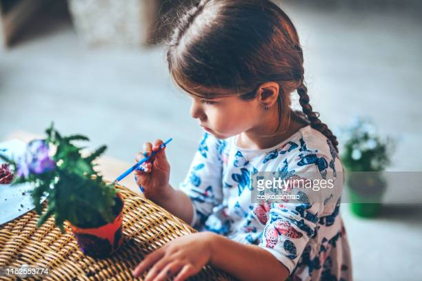 girl caring for her plants - flower pot stock pictures, royalty-free photos & images