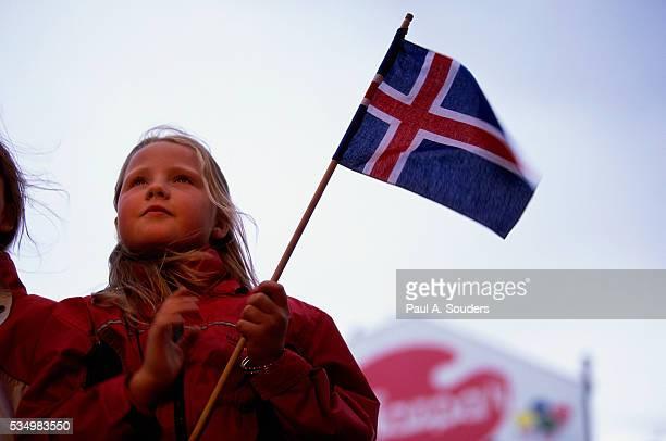 Girl Celebrating National Day of Iceland