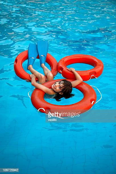Girl chilling out in the pool