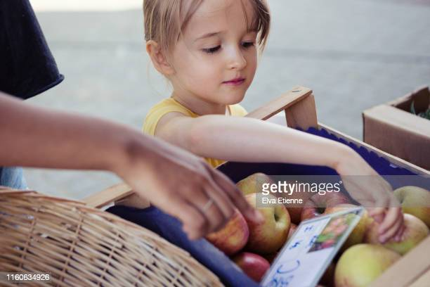 girl choosing apples at an outdoor food market stall - ripe stock pictures, royalty-free photos & images