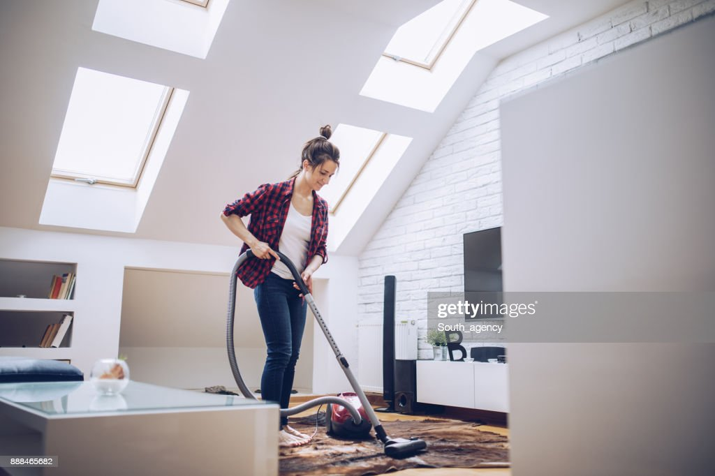 Girl Cleaning Living Room : Stock Photo
