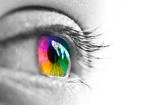 Girl colorful and natural rainbow eye on white background 522188889