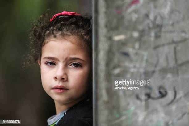 Girl cries during funeral of 29-year-old Saad Abdul Majid Abdul-Aal Abu Taha who shot dead by Israel forces during border rallies in Gaza, on April...