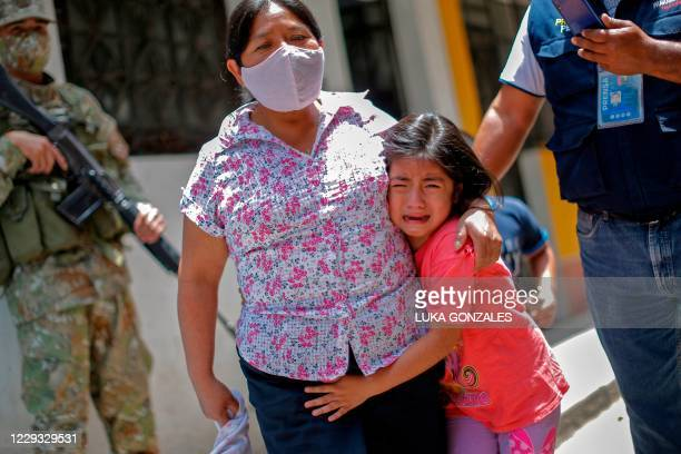 Girl cries in the framework of a preventive vaccination campaign against diphtheria in Lima, on October 28 after a case was detected at a popular...