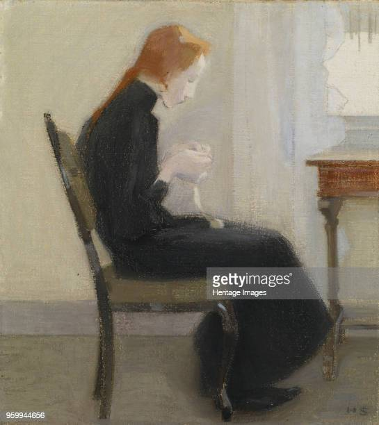 Girl crocheting, 1904. Found in the Collection of Sampo Group, Turku. )