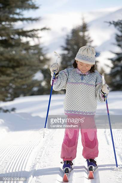 girl (4-6) cross-country skiing, looking down - ketchum idaho stock photos and pictures