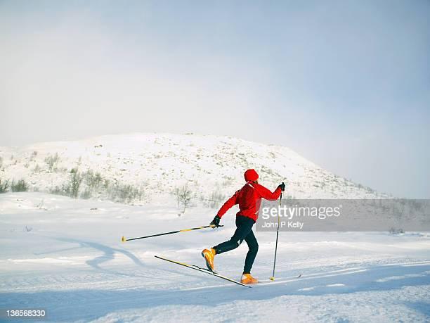 Girl cross-country skiing