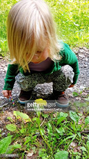 Girl Crouching By Yellow Flower Blooming On Field