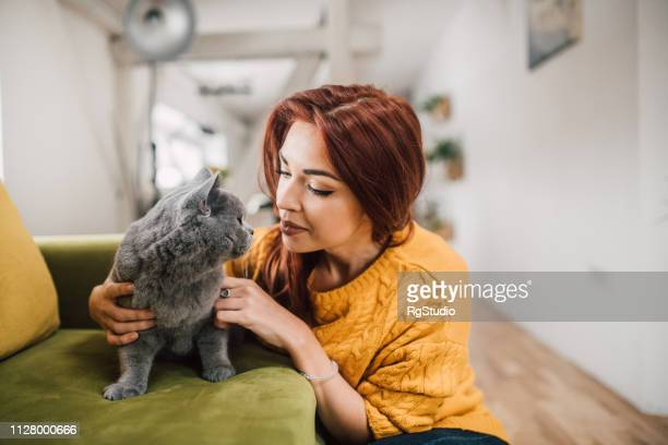 girl cuddling cat - undomesticated cat stock pictures, royalty-free photos & images