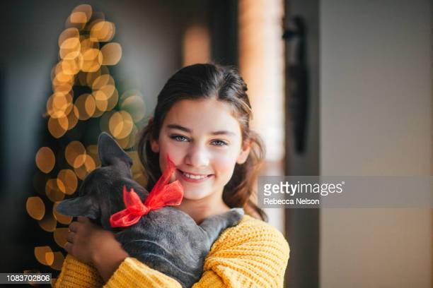 girl cuddling puppy she received as christmas gift - one animal stock pictures, royalty-free photos & images