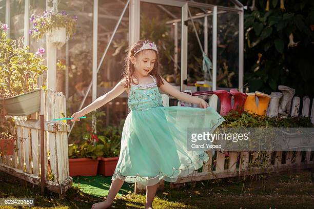 girl ( 5)  dancing in field in princess dress - princess stock pictures, royalty-free photos & images