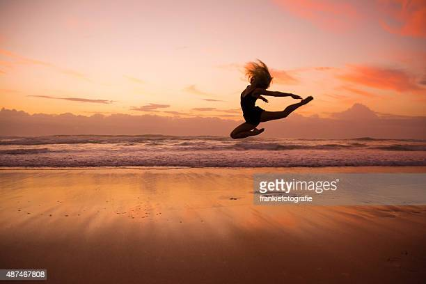 Girl dancing through the sky