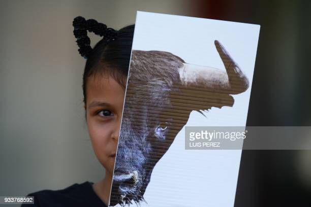 A girl demonstrates against bullfighting during a protest called by the NGO AnimaNaturalis as part of their campaign against animal abuse outside the...