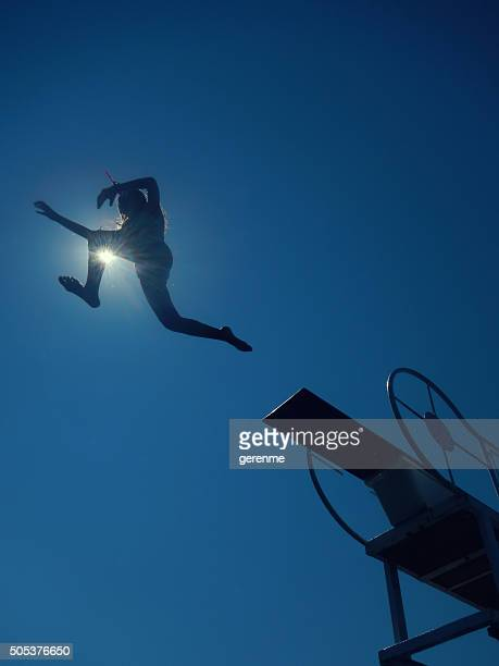 girl diving to sea