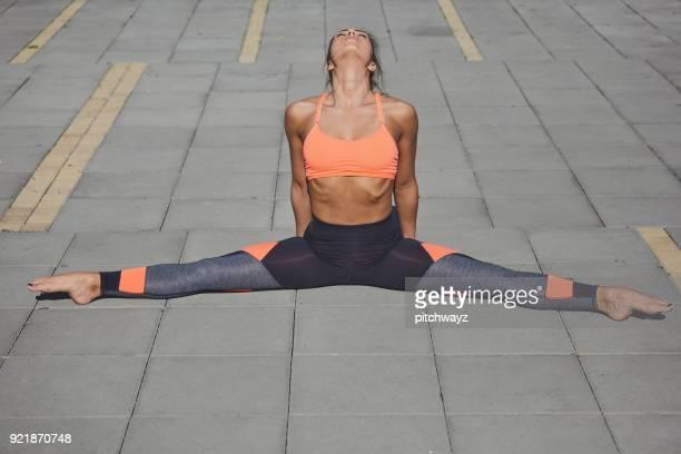 Girl doing fitness exercises.