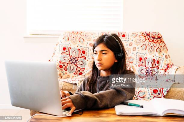 Girl Doing Her Homework on Computer