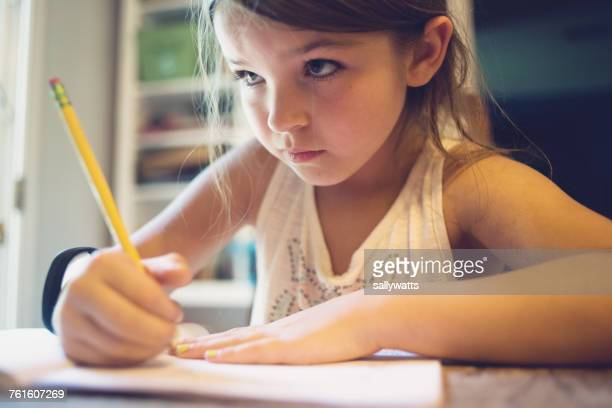 girl doing homework - homeschool ストックフォトと画像