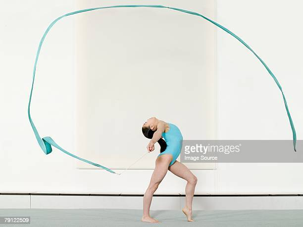 Girl doing rhythmic gymnastics