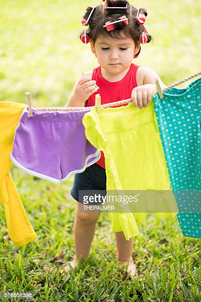 Girl doing the laundry