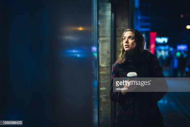 Girl Downtown at Night