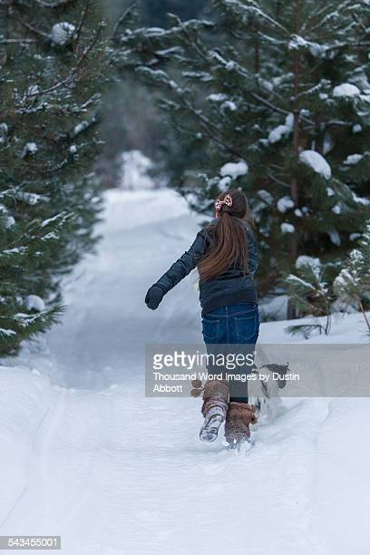 girl dragged by dog in snow - dustin abbott stock pictures, royalty-free photos & images