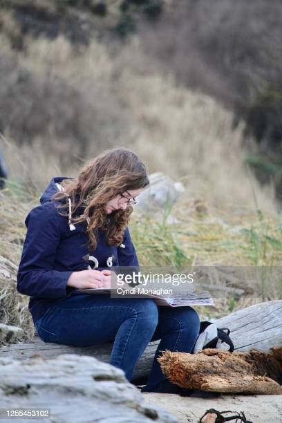girl drawing in a sketchbook at a rugged beach on whidbey island - north pacific stock pictures, royalty-free photos & images