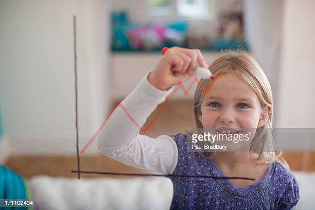 Girl drawing line graph