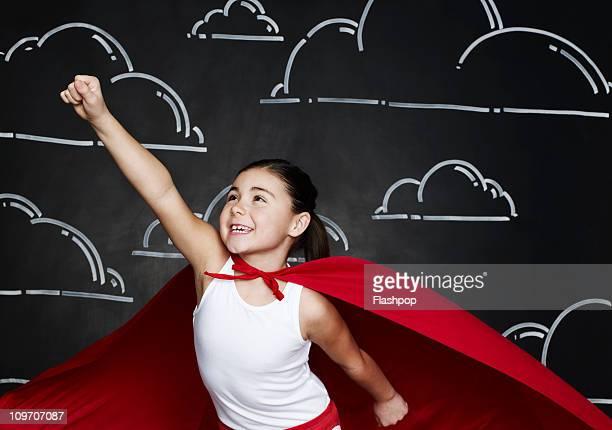 girl dressed as a superhero - potere femminile foto e immagini stock