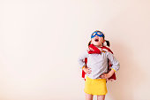 Girl dressed as a superhero