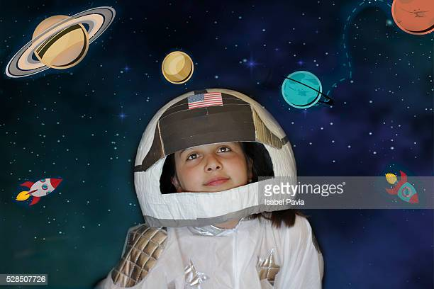 girl dressed as an astronaut - budding tween stock photos and pictures