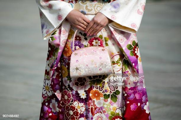 Girl dressed in colorful kimono during their Coming of Age Day celebration ceremony at Tokyo January 08 Japan The Coming of Age Day is a holiday to...