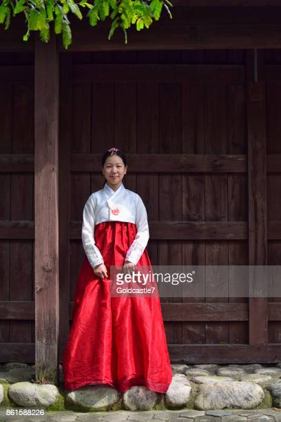 a girl dressed in traditional korean costume - tradition stock pictures, royalty-free photos & images
