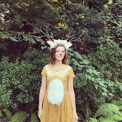 Girl Dressed Up as a Deer - gettyimageskorea
