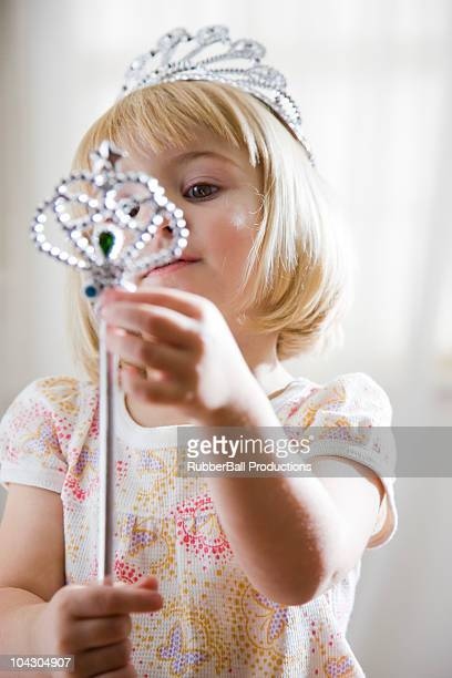girl dressed up as a princess - scepter stock pictures, royalty-free photos & images