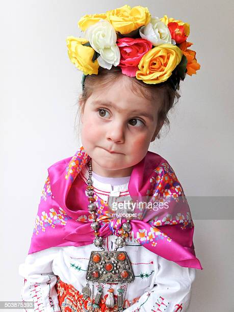 Girl dressed up as Frida Kahlo
