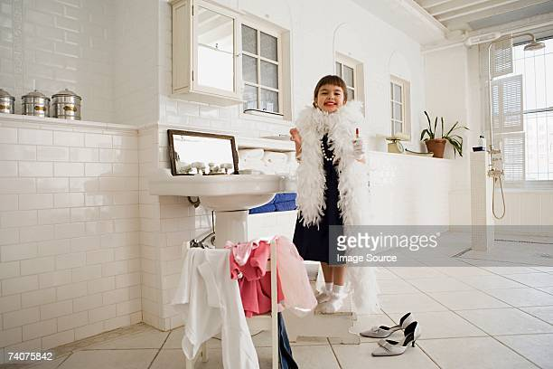 girl dressing up - little girl in high heels stock photos and pictures