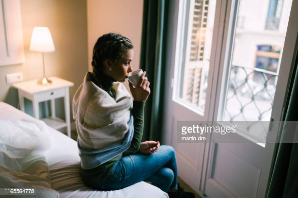 girl drinking coffee in the morning - pearl earring stock pictures, royalty-free photos & images