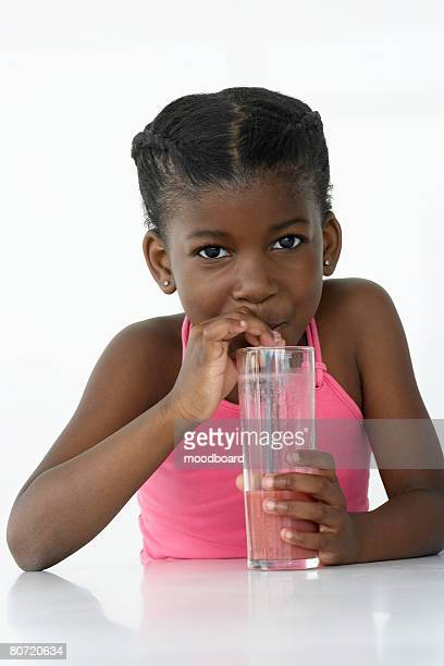 Girl Drinking Fruit Smoothie