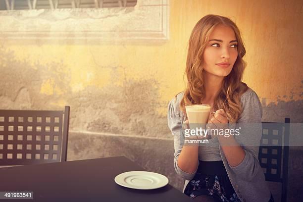 girl drinking latte