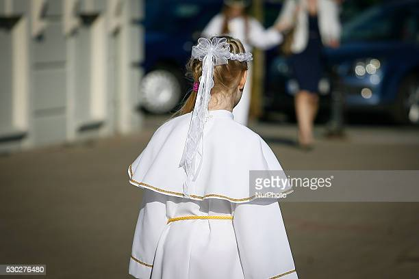 A girl during the Children's communion service at the Saint Peter and Paul Basilica in Bydgoszcz Poland on May 10 on the second day of so called...