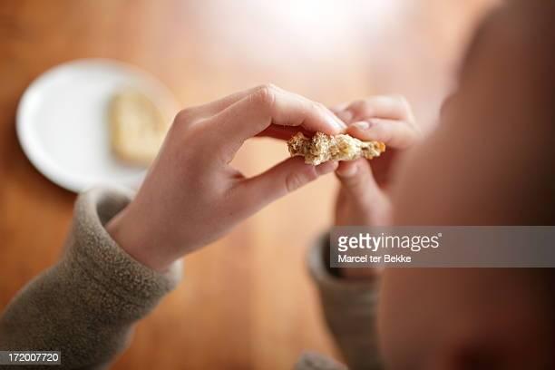 Girl eating a croque-monsieur
