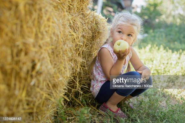 girl eating apple squatting next to hay bale - focus on foreground stock pictures, royalty-free photos & images