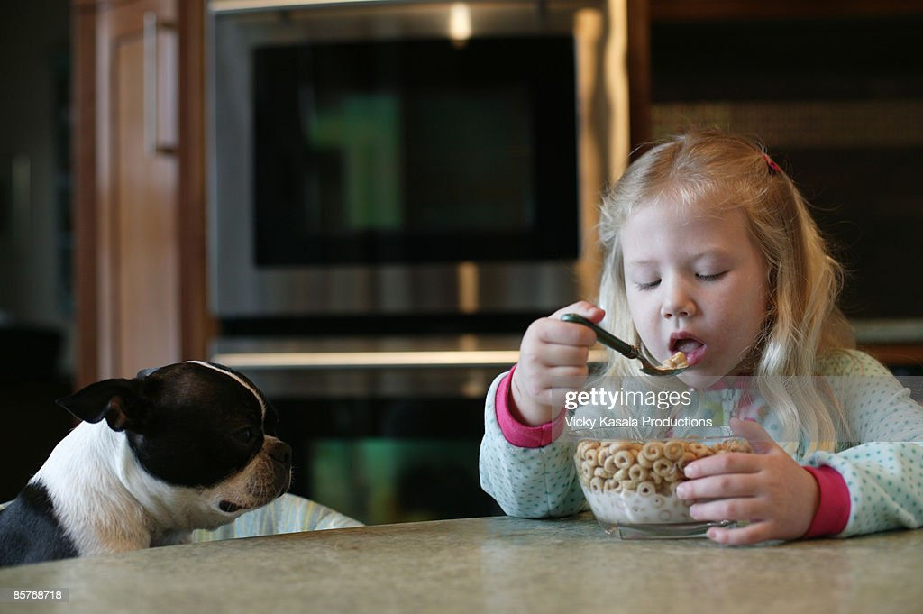 Girl eating cereal with her dog : Stock Photo