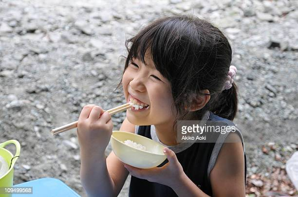 Girl eating meal